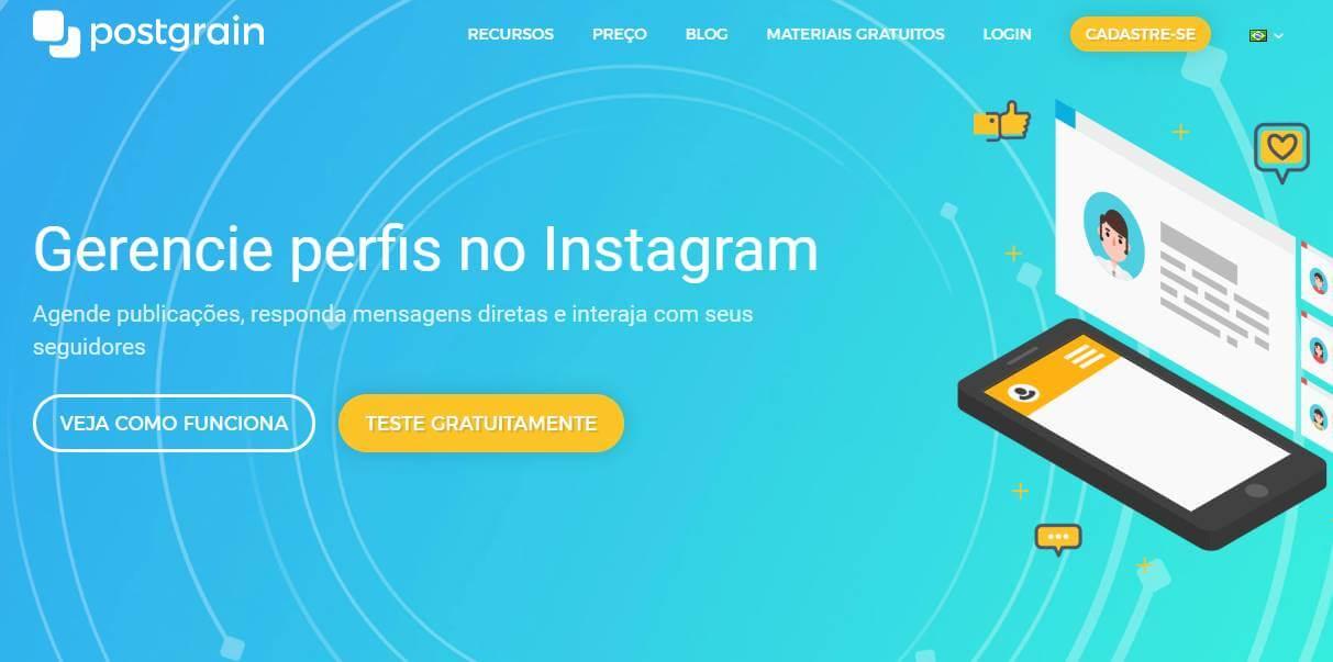 site postgrain como exemplo de ferramenta gerenciadora de redes sociais
