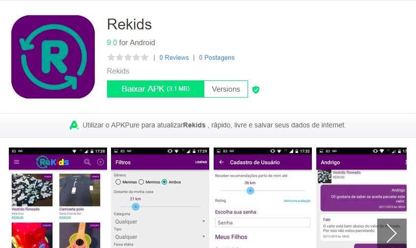 tela de download do aplciativo de vendas ReKids