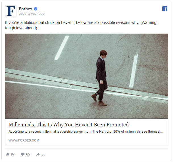 anúncio de remarketing no facebook da Forbes