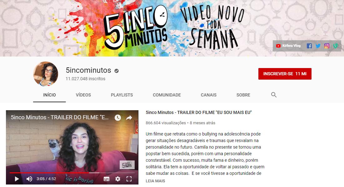 captura de tela de canal 5incominutos na plataforma youtube