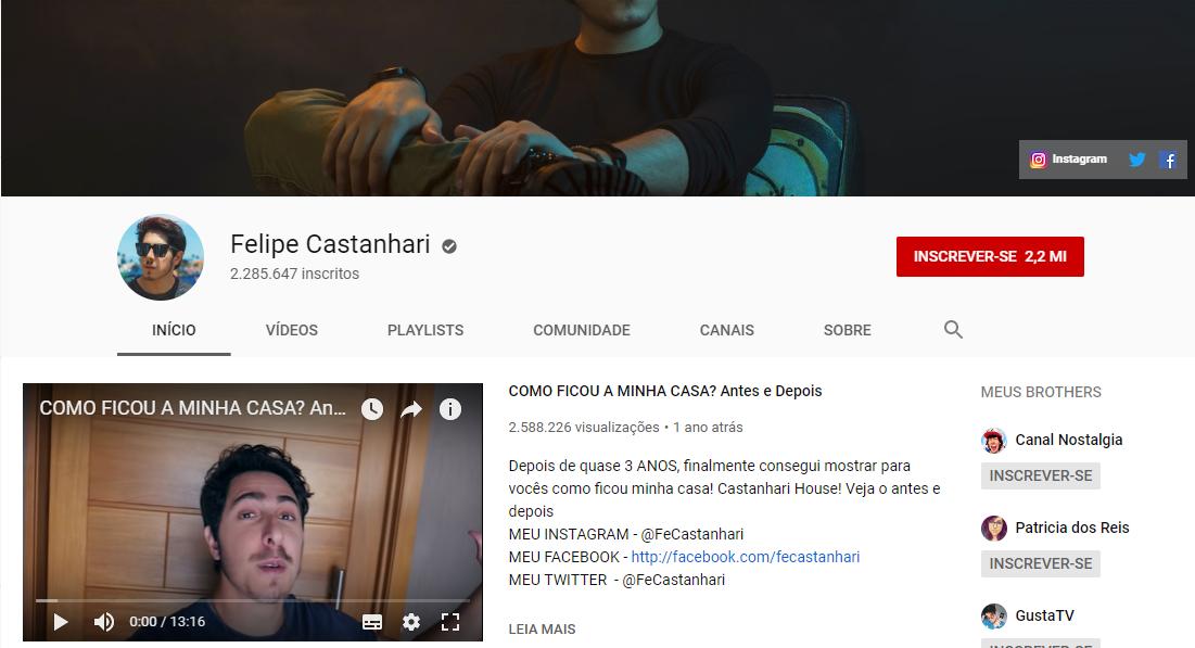 captura de tela de canal de felipe castanhari na plataforma youtube