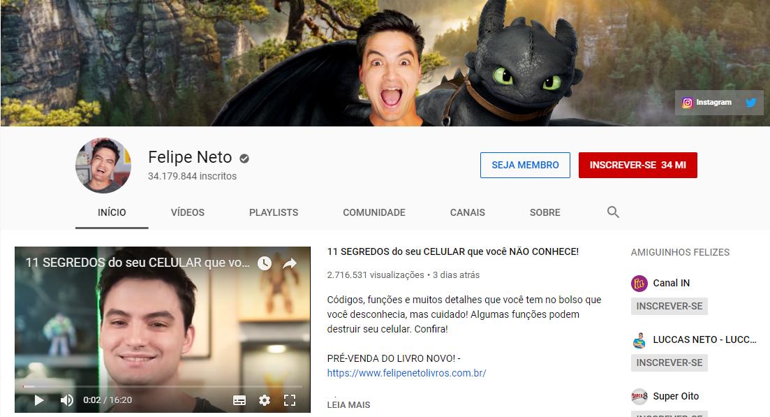 captura de tela de canal de felipe neto na plataforma youtube