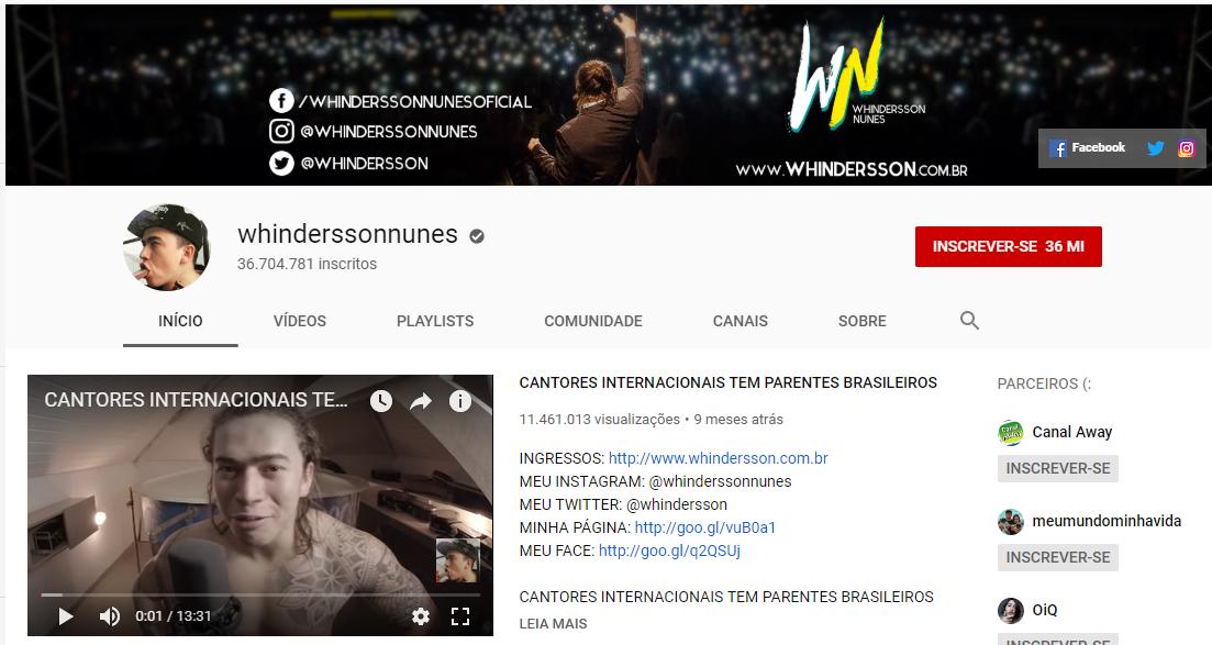 captura de tela de canal de windersson nunes na plataforma youtube