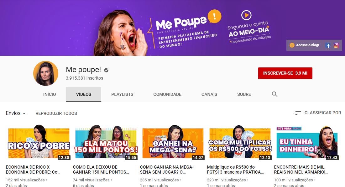 captura de tela de canal Me Poupe! na plataforma youtube