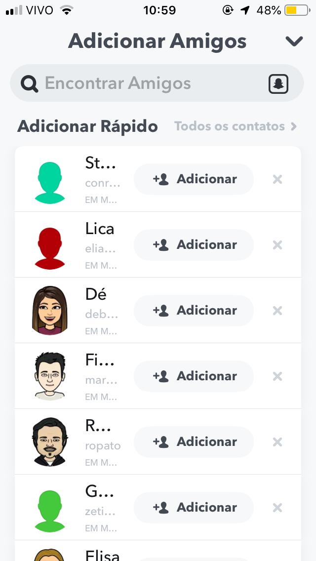 como adicionar amigos no snapchat