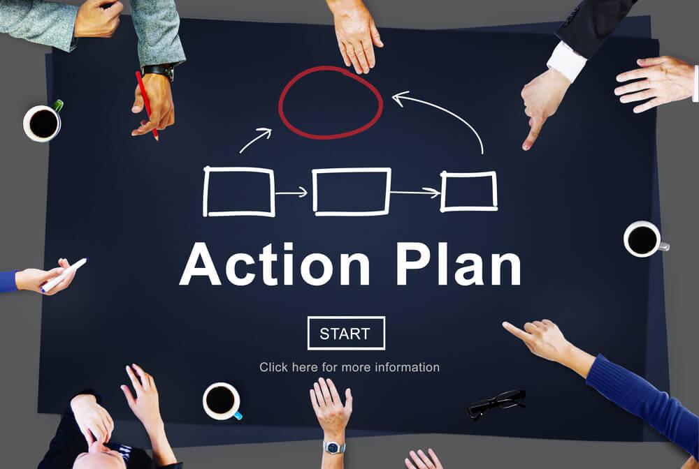 equipe reunida em elaboração de plano de ação