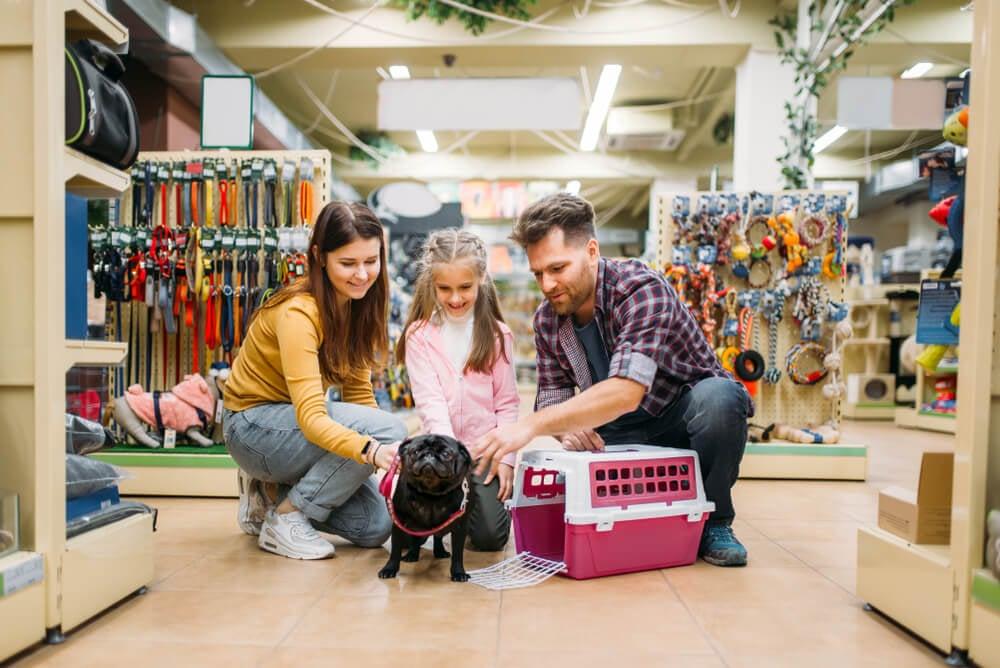 familia com seu cachorro escolhendo caixa transporte em pet shop