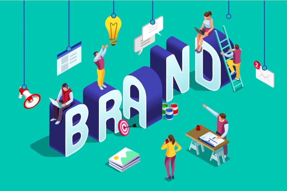 ilustraçao da palavra brand com simbolos relacionados em sua volta