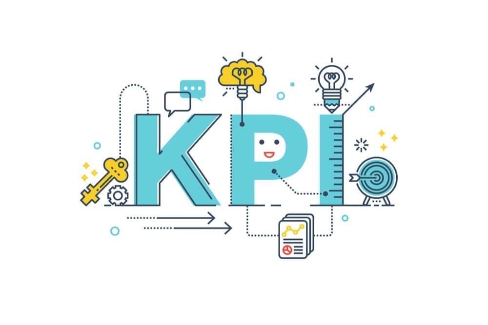 ilustraçao da palavra KPI e objetos relacionados em sua volta