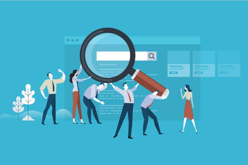 ilustração de busca e SEO nas plataformas de marketing digital