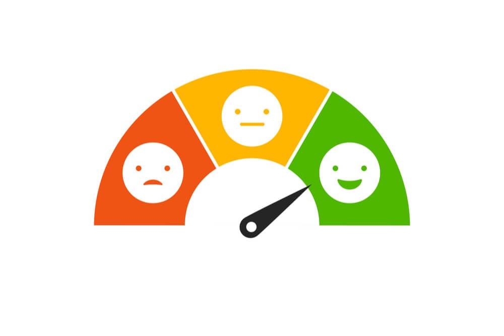ilustraçao de indicador de satisfaçao do cliente indicando positivo