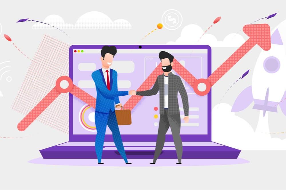 ilustração de profissionais em processo de market share