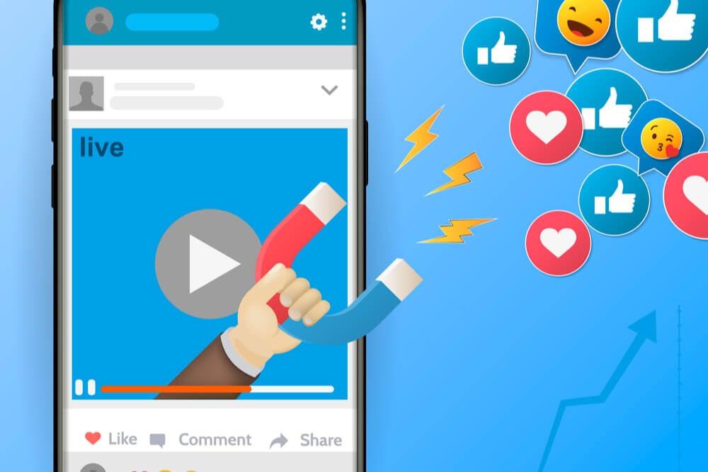 ilustraçao de smartphone em publicaçao em rede social conseguindo engajamentos