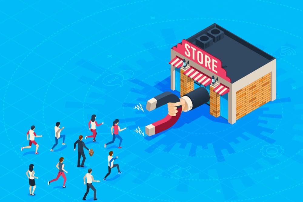 ilustraçao demonstrando loja com ima saindo da porta principal e bonecos simbolizando clientes correndo para a loja