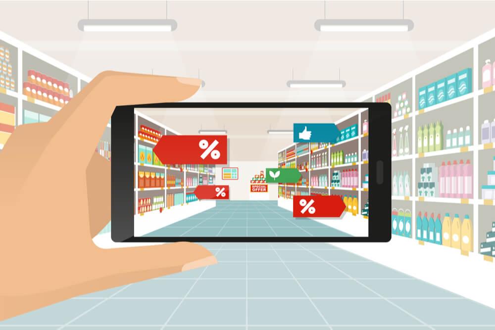 ilustraçao demonstrando mao segurando smartphone em frente a loja com porcentagens de produtos em tela