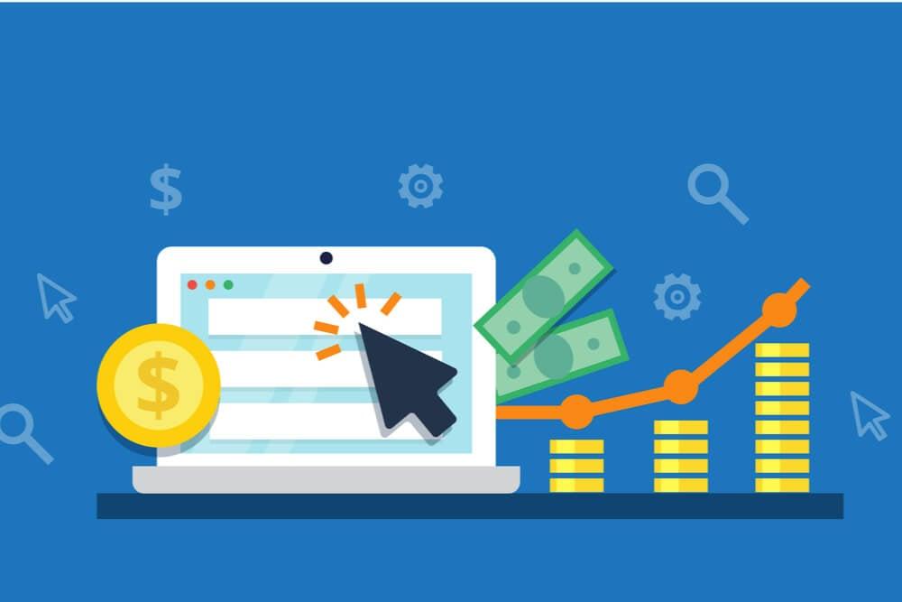 ilustraçao demonstrando monetizaçao de vlogs em plataformas com laptop, simbolos de dinheiro e graficos positivos