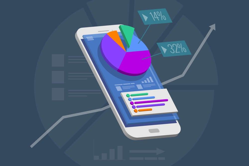 ilustraçao demonstrando smartphone com graficos e porcentagens em tela