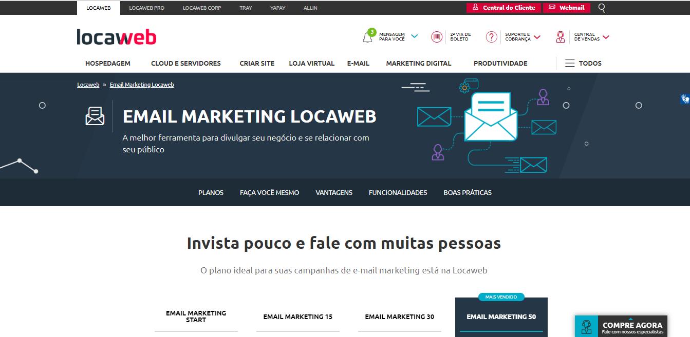 LocaWeb como exemplo de ferramenta para email marketing