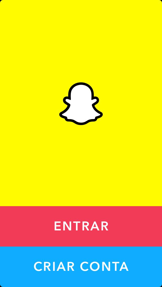 opçao de cadastro e login no aplicativo snapchat