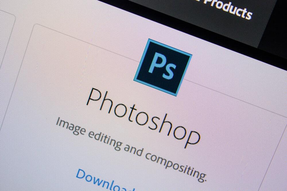 opçao download do aplicativo photoshop em tela de computador