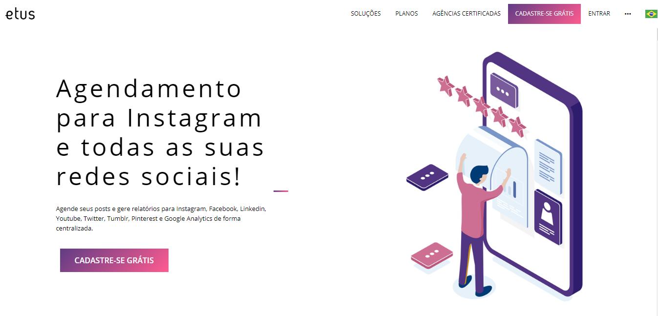 plataforma etus para automaçao de postagens no instagram