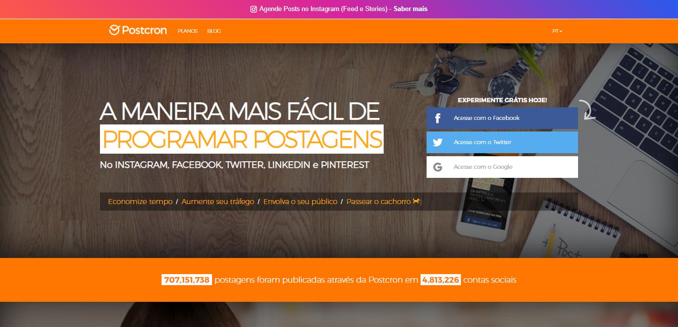 plataforma postcron para automaçao de postagens no instagram