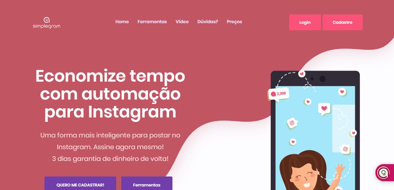 plataforma simplegram para automaçao de mensagens no instagram
