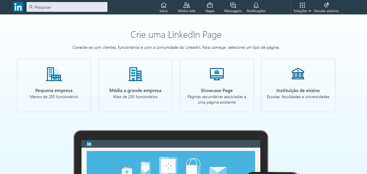 tela de criação de página no linkedin desktop