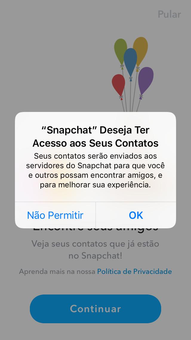vinculando contatos com snapchat