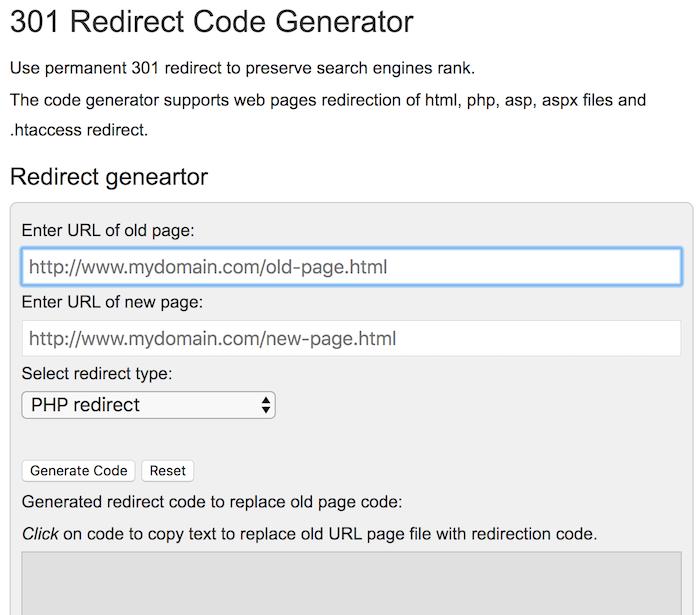 301 redirect code generator free SEO tool
