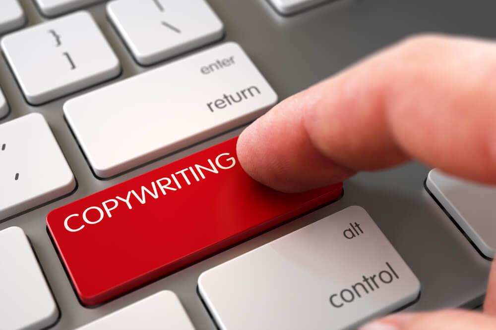 botão do teclado sobre copywriting
