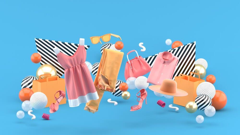 ilustração 3d de produtos que podem ser vendidos pela internet