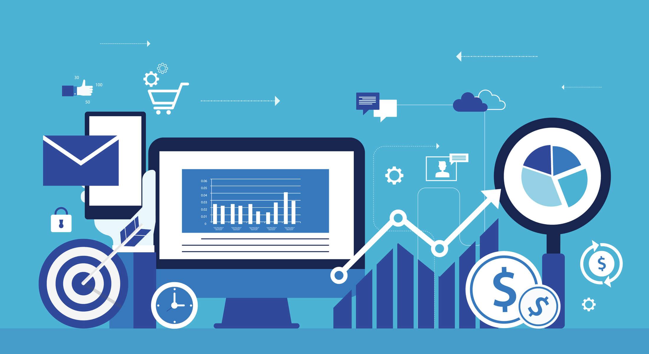 ilustração sobre e-commerce e e-business