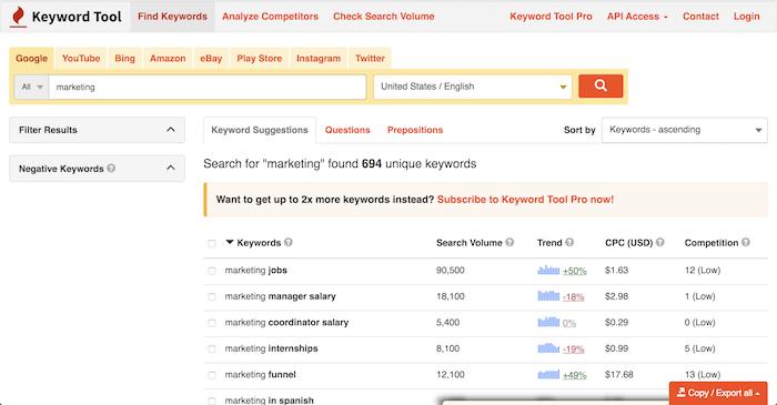 free seo tools Keyword io