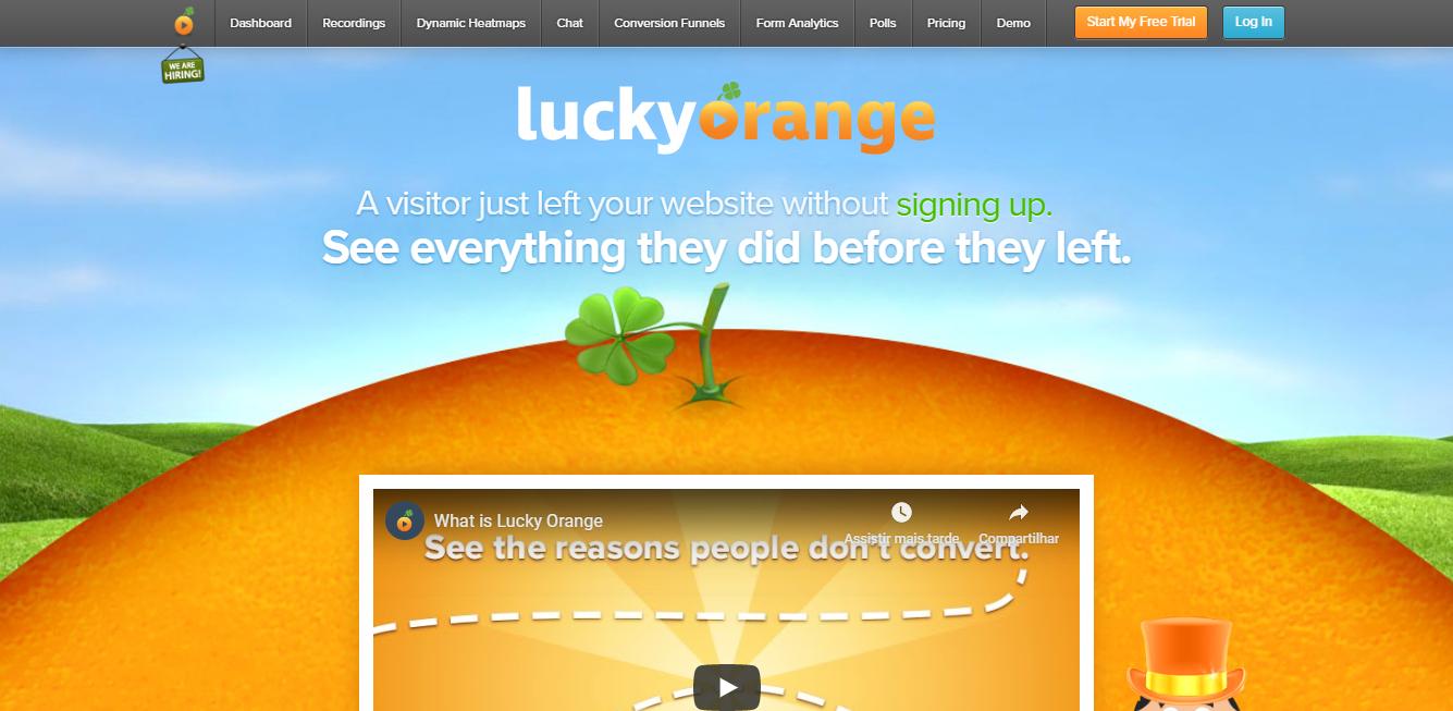 Lucky Orange como exemplo de ferramenta semelhante ao HotJar