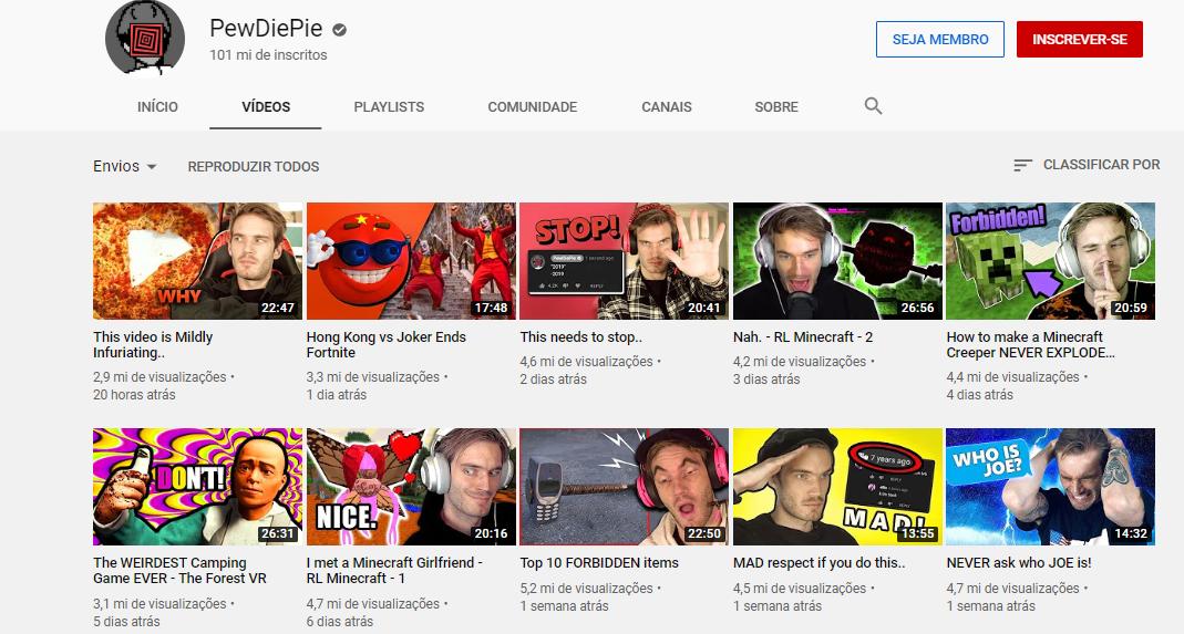 pagina de canal pewdiepie na plataforma youtube