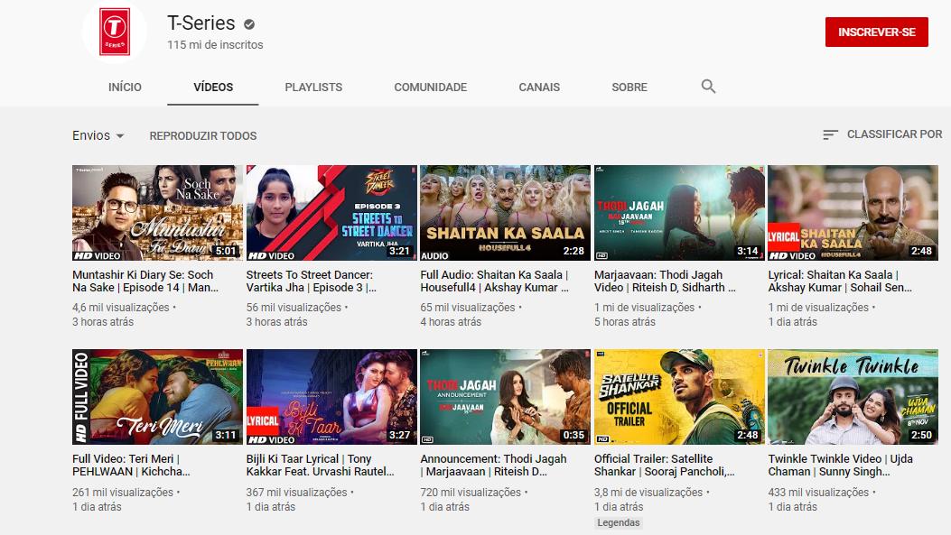 pagina de canal t-series na plataforma youtube