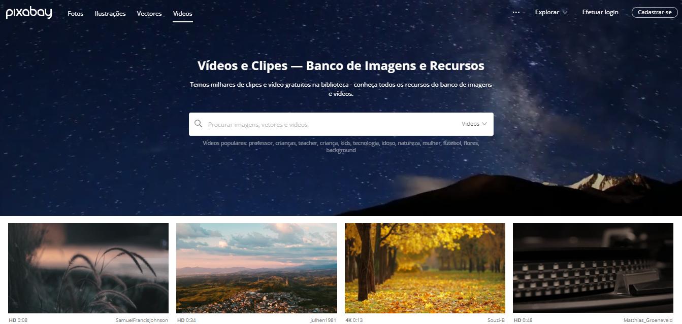 página inicial do banco de vídeos pixabay