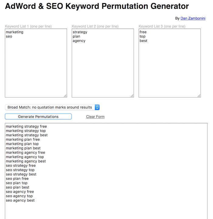 adWord SEO keyword free SEO tool