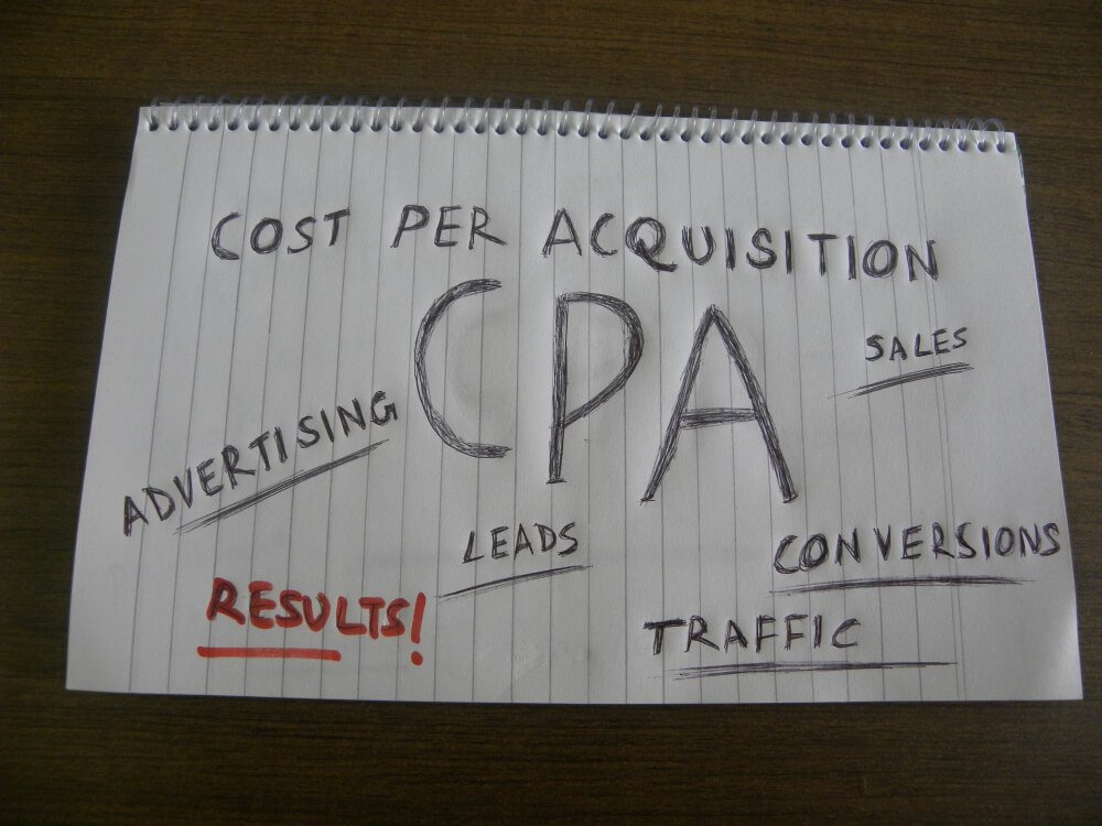 título CPA e termos relacionados a metrica escritos em caderno