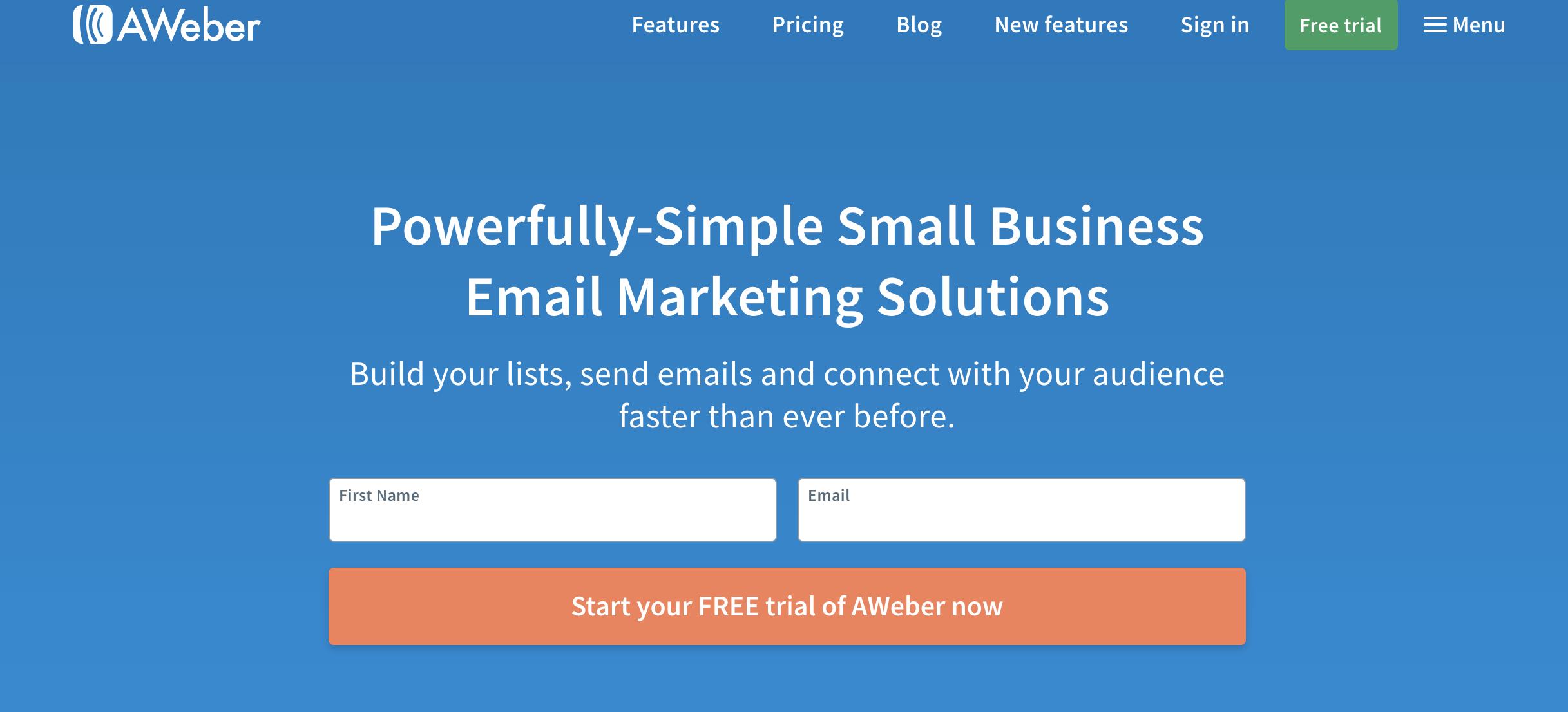 Aweber como exemplo de ferramenta grátis de email marketing