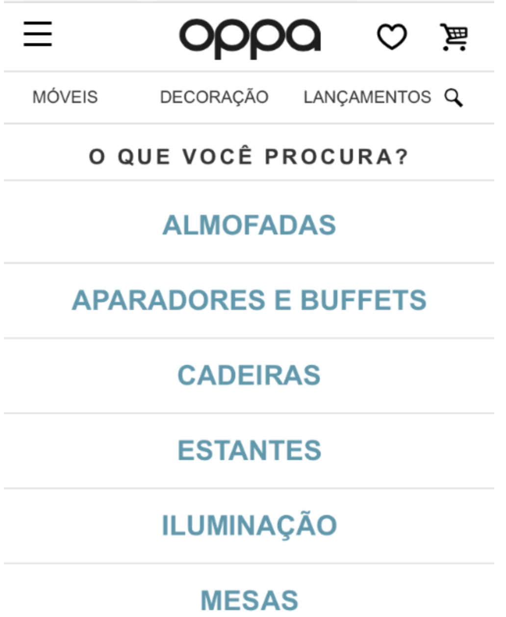 categorias dentro do site de compras Oppa