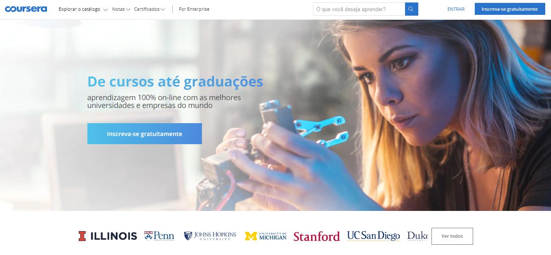 Coursera como exemplo de plataforma de cursos online