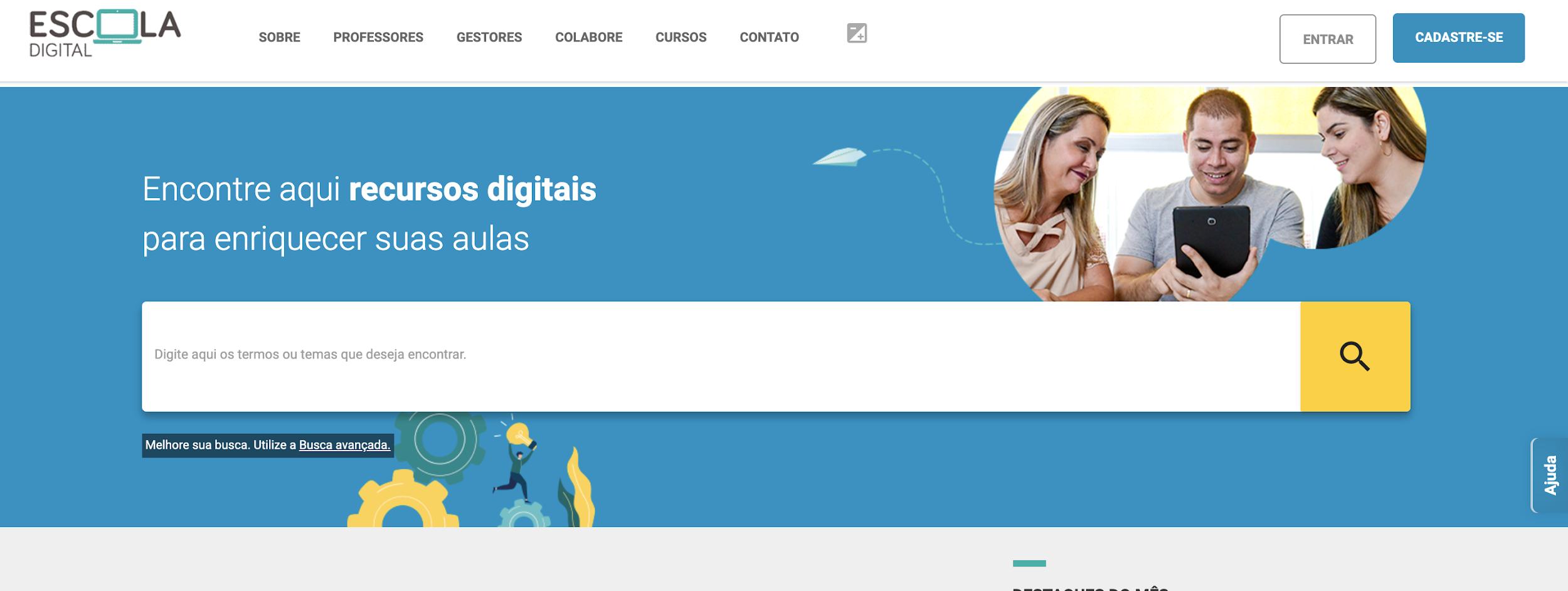 Escola Digital como exemplo de plataforma digitais para educação