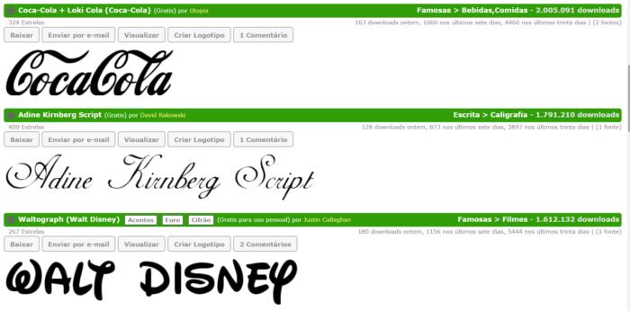 fontes de letras no site net fontes