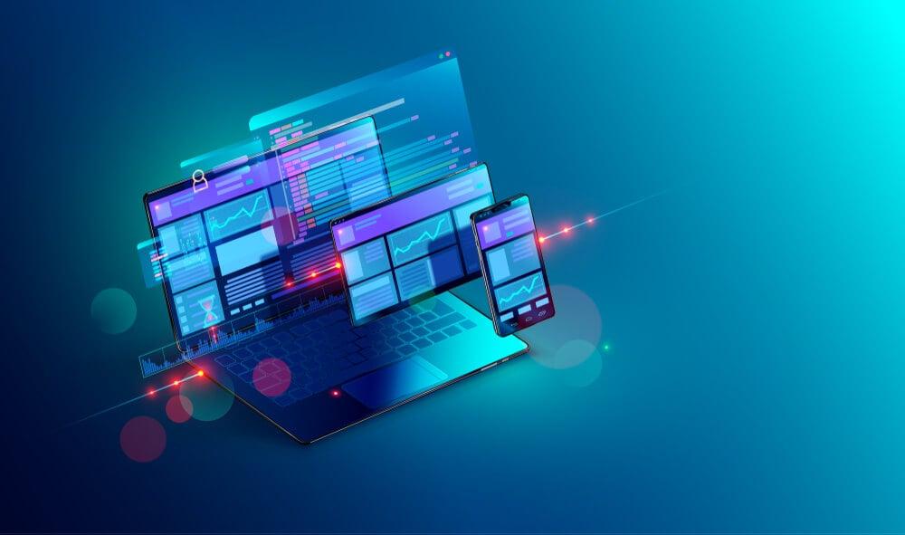 ilustração 3d sobre plataformas digitais