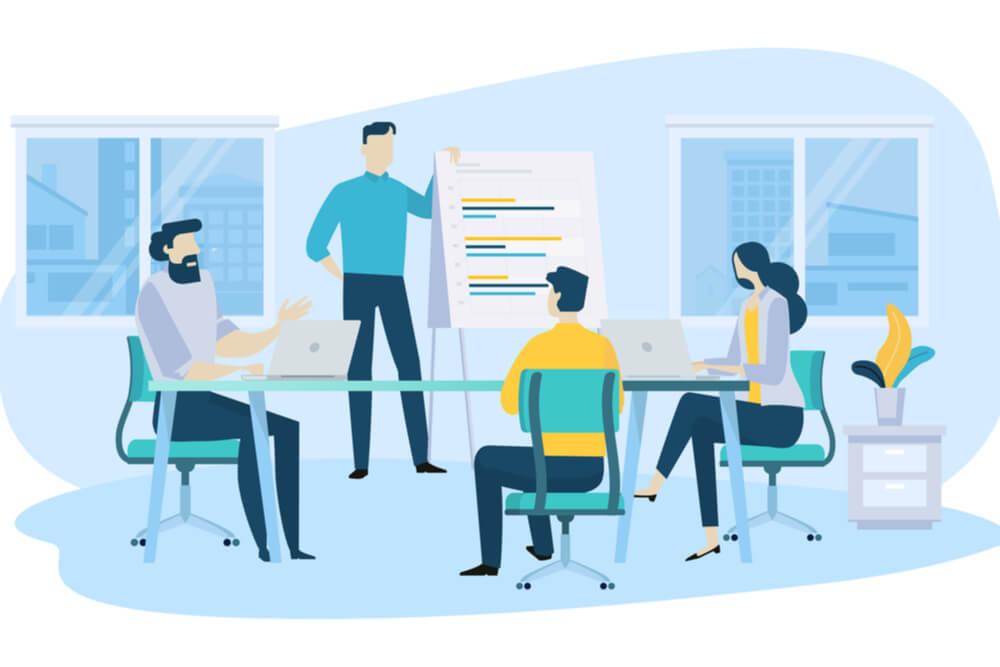 ilustração de equipe analisando plano de marketing pessoal