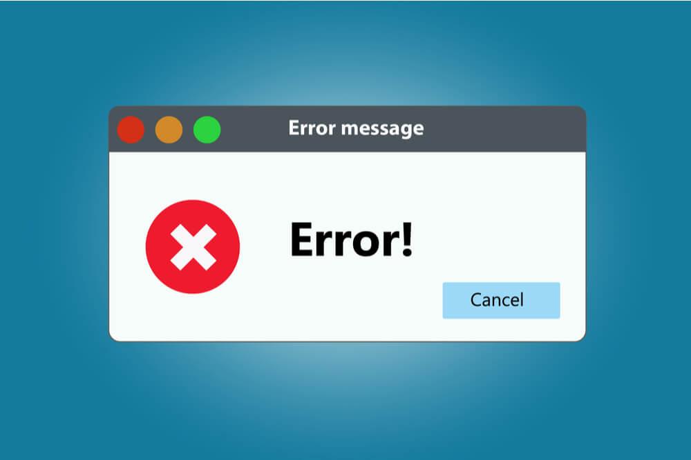 ilustração de mensagem de erro em página web