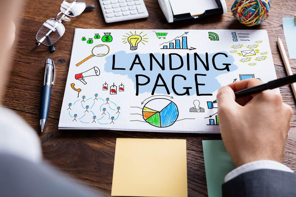 ilustração do título landing page e simbolos relacionados