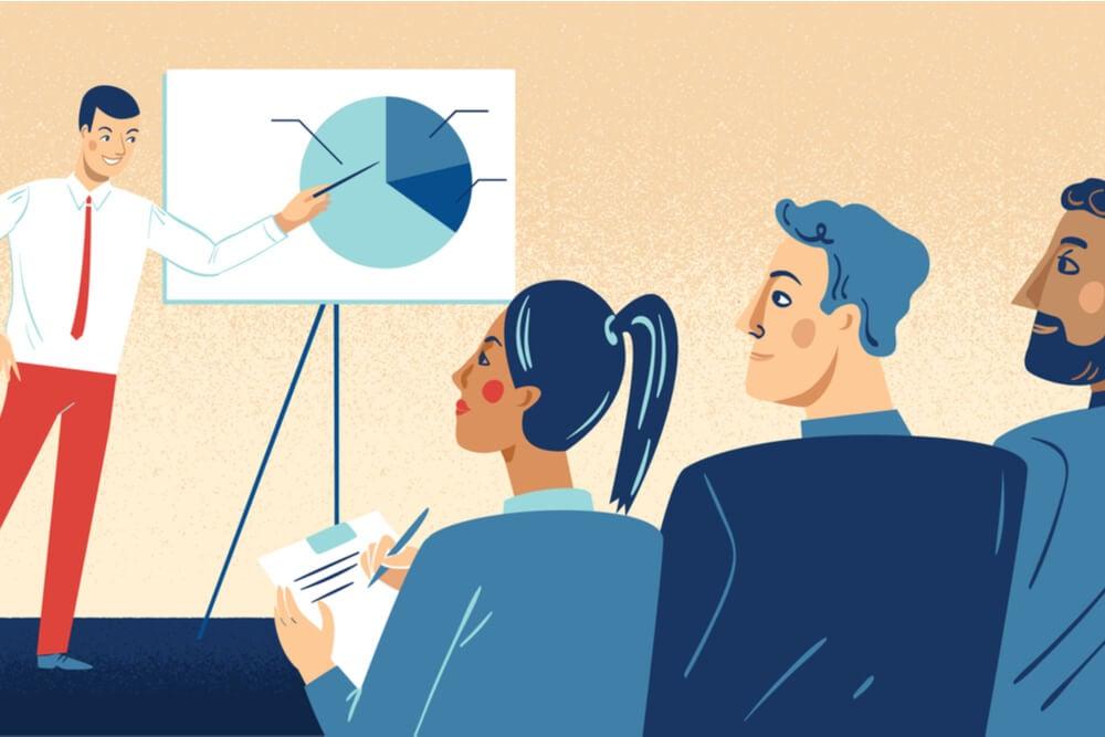 ilustração sobre pitch de vendas em empresas